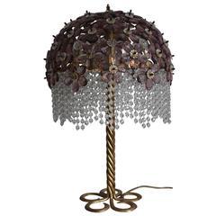 Grand Mid -Century Amethyst Table Lamp Gilt Iron, Italy, circa 1960s