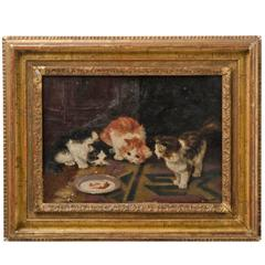 Framed Oil Painting of Kittens, circa 1895