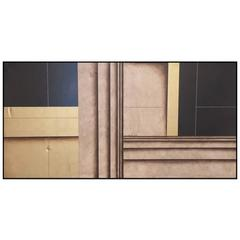 Large Two-Panel Linear Oil Painting by Jens Lausen