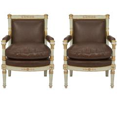 Italian Early 19th Century Neoclassical Style Patinated and Giltwood Armchairs