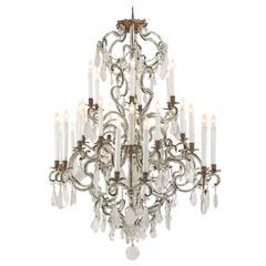 Italian Mid-18th Century Louis XV Period Rock Crystal Thirty Light Chandelier