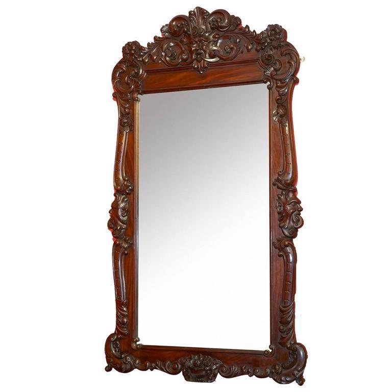 Mid 19th Century Irish Mahogany Carved Wall Mirror