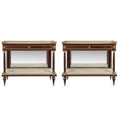 Pair of French Early 19th Century Louis XVI St. Mahogany and Ormolu Consoles