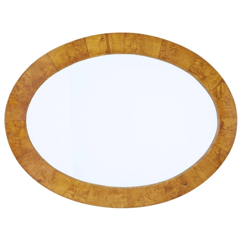 Late 19th Century Birch Oval Mirror For Sale