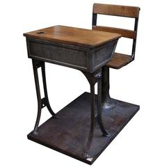 1930s Children's Adjustable School Desk in Wood and Cast Iron with Base