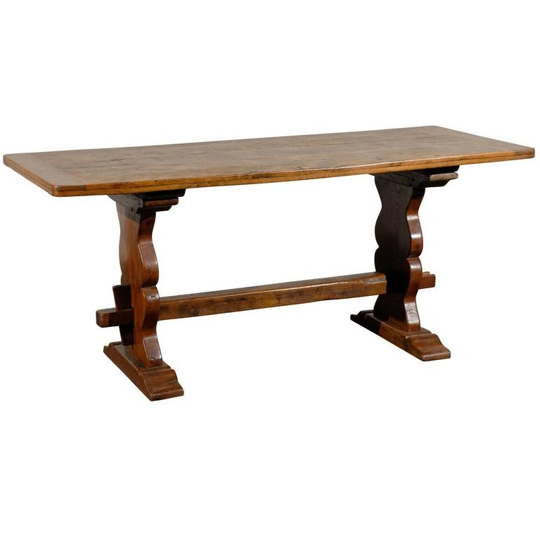 19th Century Oak Trestle Table