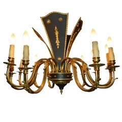 Empire Style Gilt Bronze Twelve-Light Chandelier