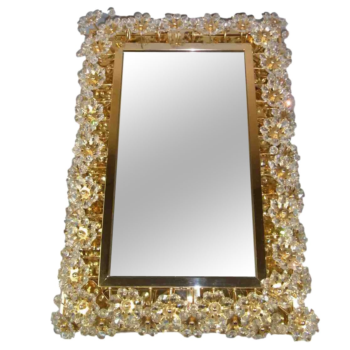 Square Illuminated Palwa Crystal Glass Mirror