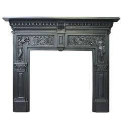 Arts and Industry, a Large Victorian Cast Iron Fireplace Surround