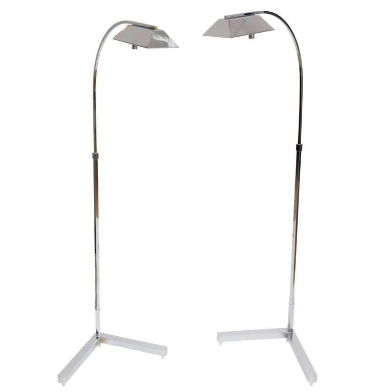 Pair of Casella Adjustable Floor Lamps in Polished Chrome