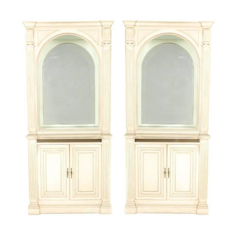 Matching French Painted And Lighted Display Cabinets, Circa 1960 For Sale