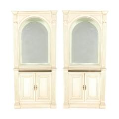 Matching French Painted and Lighted Display Cabinets, circa 1960