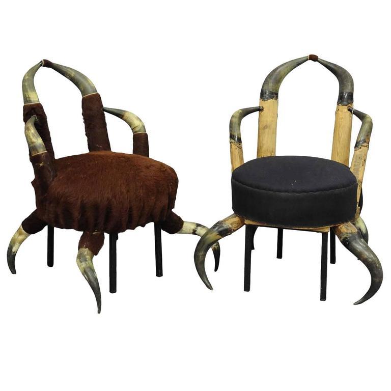 Pair of Small Antique Horn Chairs, Austria, circa 1870