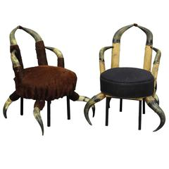 Pair of Small Antique Horn Chairs, Austria, circa 1870
