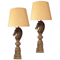 Italian Horse Head Table Lamps
