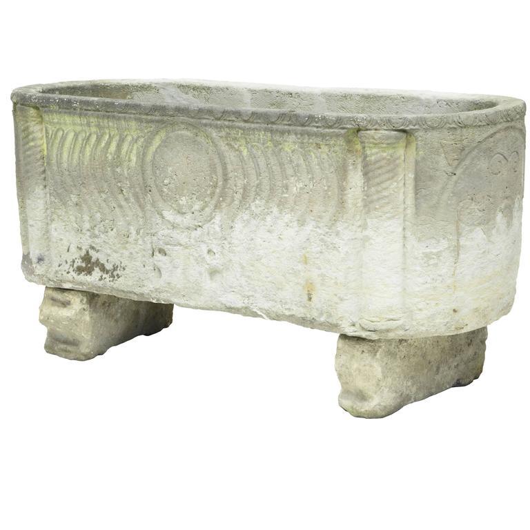 Unique Anglo Roman Limestone Sarcophagus For Sale