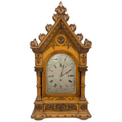 Mid-19th Century Carved Oak Triple Fusee Movement Bracket Clock by Connel