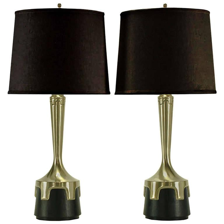 Pair of Frederick Cooper Nickel and Ebonized Walnut Table Lamps