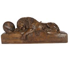 Swiss Black Forest Lion of Lucerne Walnut Carving