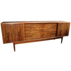 Large Danish Midcentury Rosewood Sideboard Credenza by Christian Linneberg