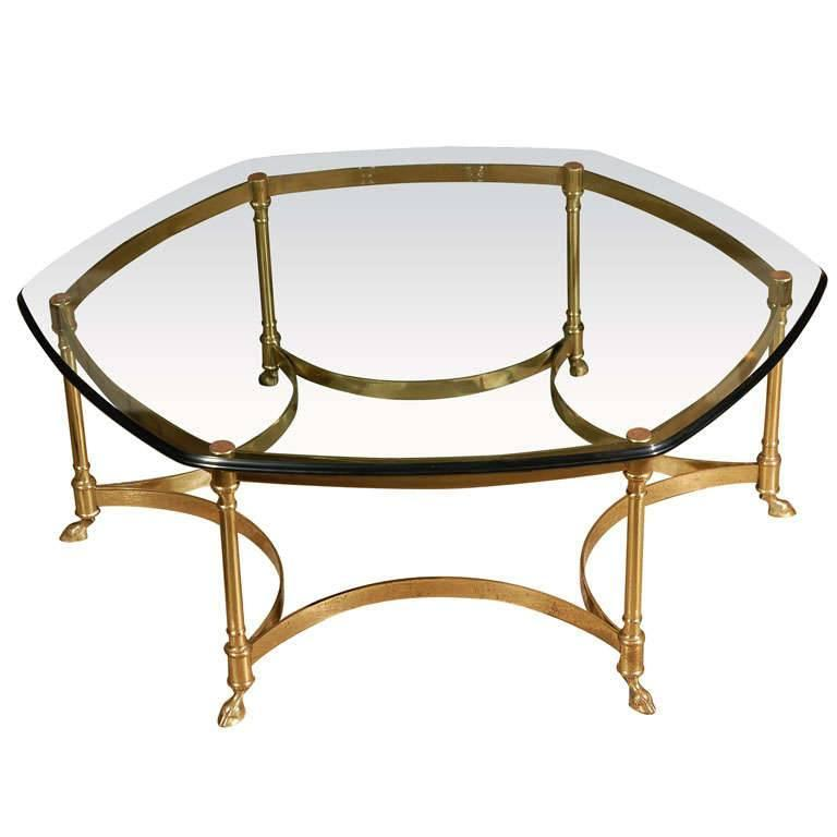 Polished Brass and Glass Octagonal Coffee table, La Barge