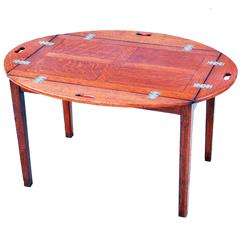 Antique Oak Butlers Tray on Stand