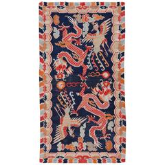 Antique Tibetan Dragon Phoenix Khaden Throw Rug in Excellent Condition