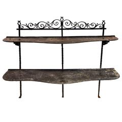 Let 19th Century French Iron and Tole Shelving