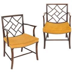 Close Pair of Georgian Mahogany Chinese Lattice Cockpen Armchairs