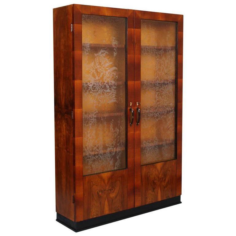 Italian Showcase Bookcase Art Deco in Walnut Burl Walnut, Osvaldo Borsani style