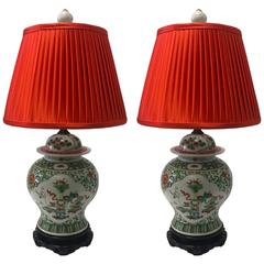 Pair of 19th Century Chinese Famille Vert Vase Lamps with Custom Silk Lampshades