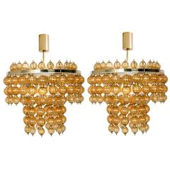 Pair of Big Amber colored Chandeliers, Germany, 1965