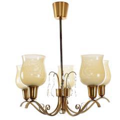 Five-Light Chandelier by Lyfa, Attractive Hollywood Regency Style Chandelier