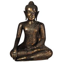 19th Century Bronze Virasana Buddha in BhumisparshaMudra, Thailand