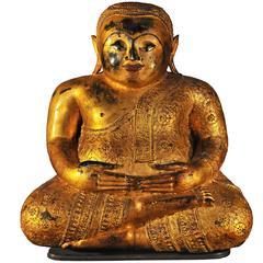 Late 18th Century Gilt Bronze Pu-Tai 'Laughing Buddha', Thailand