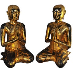 Late 17th Century Pair of Gilt Bronze Monks Maudgalayayana et Shariputra, Thai