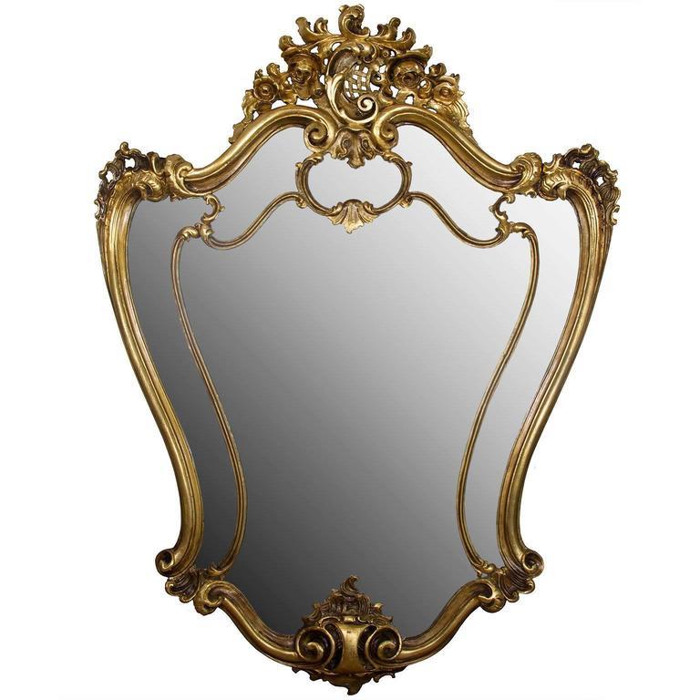 19th Century Italian Rococo Style Giltwood Wall Mirror or Console Mirror 1