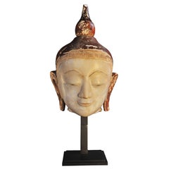 14th Century Marble with Red and Gold Lacquer Buddha Head, Pagan Period, Burma