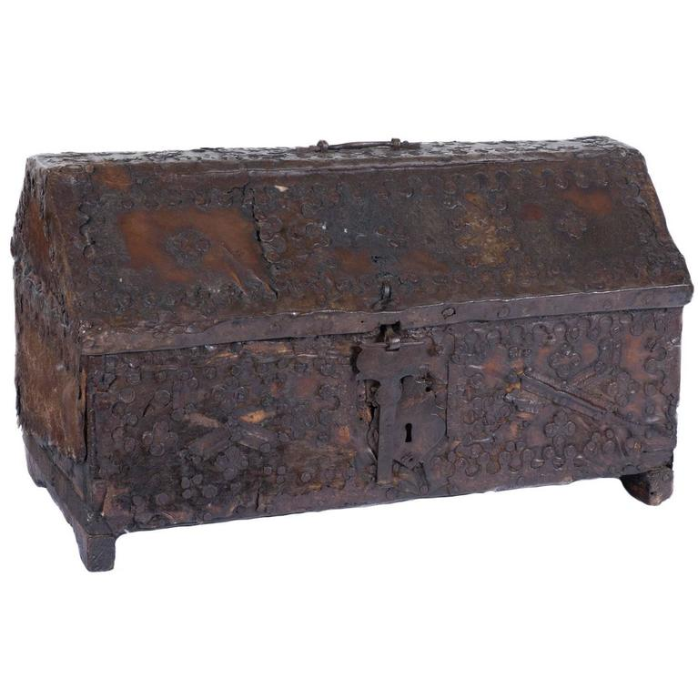 Spanish Leather and Wood Box with Ironwork, 16th Century