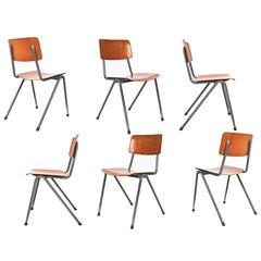 Dutch Industrial School Chairs 1970, Laminated Wood and Grey Metal Frame