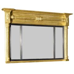 19th Century Three Compartmental Overmantle Mirror