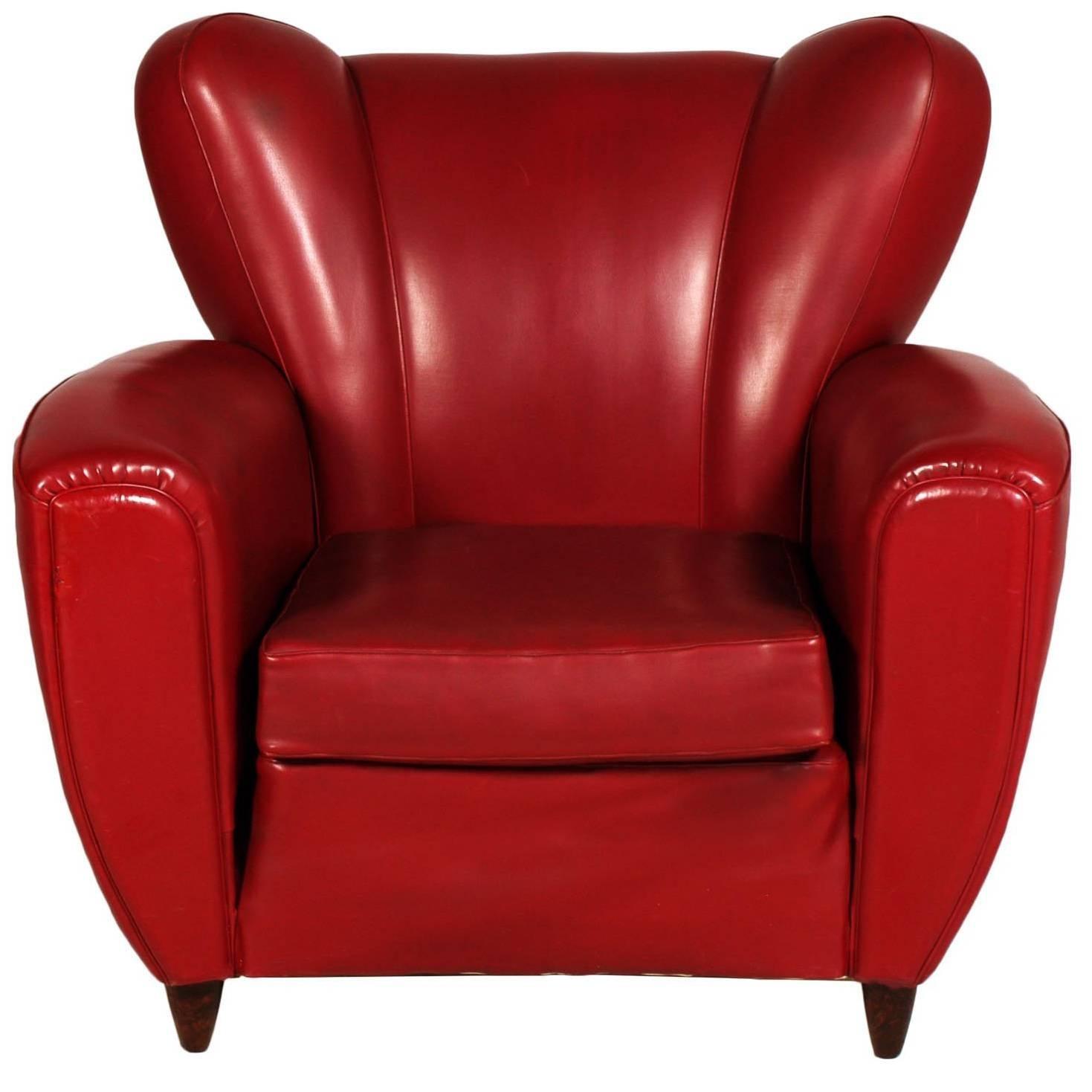 Italian Mid-Century Armchair Club Chair Art Deco Design Guglielmo Ulrich