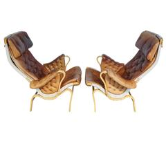"Pair of ""Pernilla"" Lounge Chairs Designed by Bruno Mathsson, Manufactured by DUX"