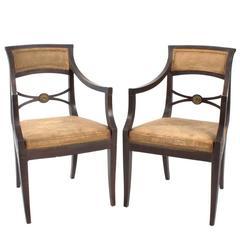Distressed Regency Armchairs