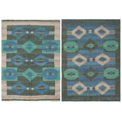 Vintage Double-Sided Swedish or Scandinavian Deco Kilim