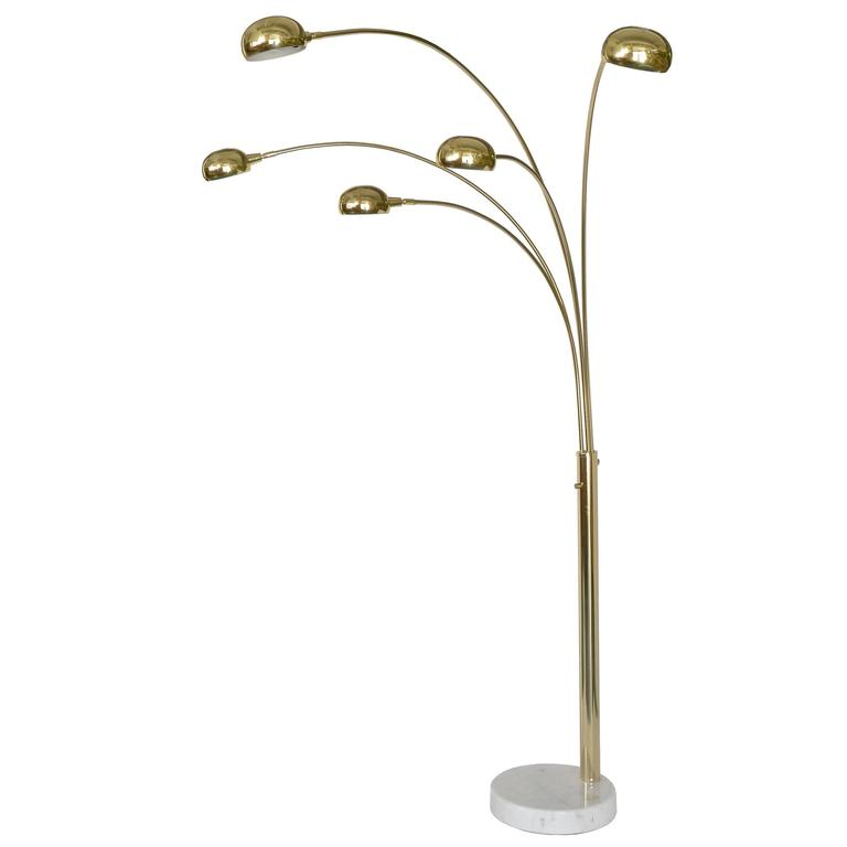 Five Arm Mid Century Modern Floor Lamp In Brass With White