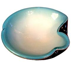 Large Murano Turquoise Glass Ashtray or Bowl