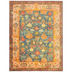 Beautiful Blue Background Antique Turkish Oushak Rug