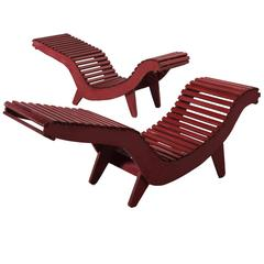 Two Klaus Grabe C5 Chaise Longues