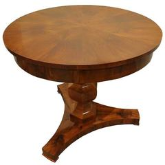 Biedermeier 19th Century Center Table with Walnut Veneer and Pedestal Base